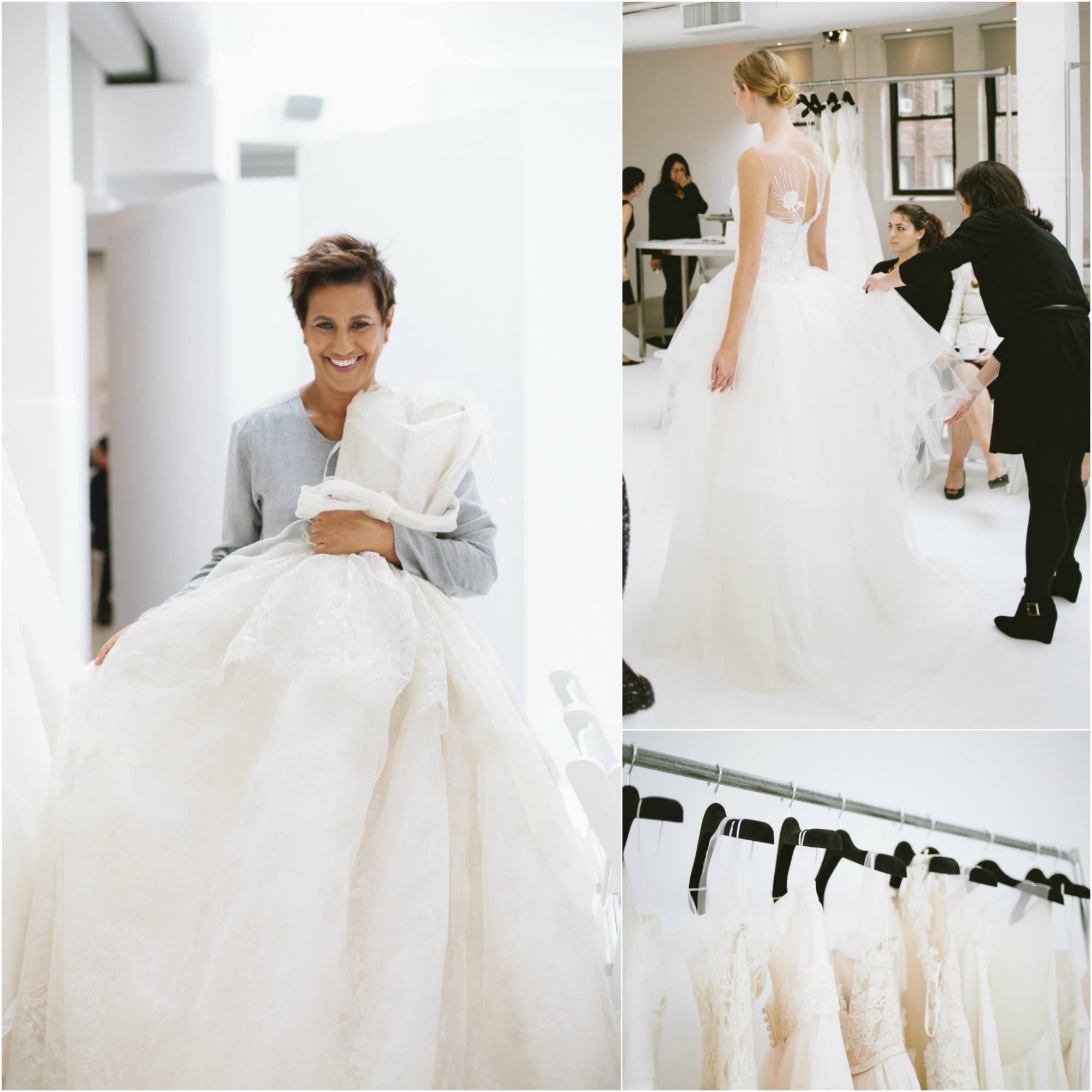 Designer, Amsale Aberra, with one of her wedding dress creations in her New York studio