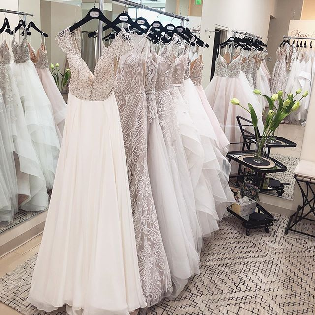 The new Hayley Paige Fall '19 collection hanging and ready to meet their brides! ☺️ We just had a surprise TWO gowns delivered to the store today - straight from @misshayleypaige's office to make sure our brides really had the best of the best! 🎉