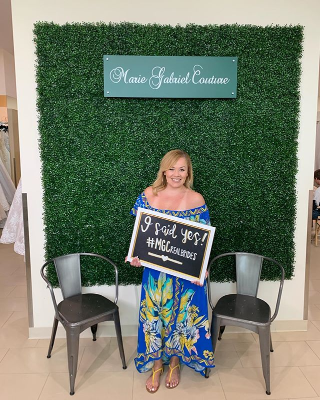 "No matter the spot you celebrate your ""Yes!"" - the excitement is the same! 🤗❤️ How beautiful is our new #MGCrealbrides, Suheris?! Congratulations to all of our new brides who found their perrrrfect wedding dresses this weekend AND all our brides who got married! 🎉"