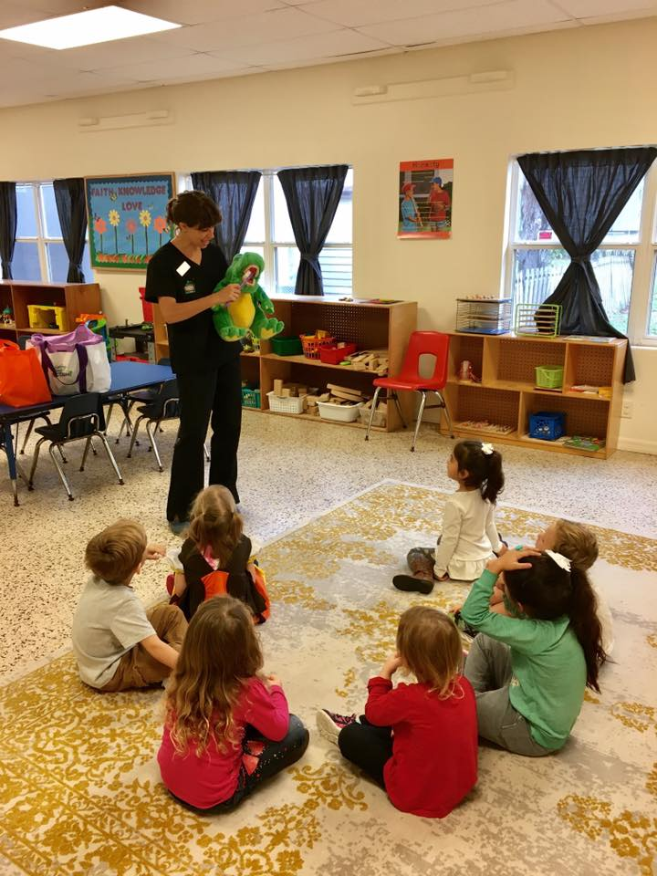 On December 8th we had a dental assistant from the Pediatric Dentistry of Lakeland teach our Sunflower's class about dental hygiene! Our 3 and 4 year olds loved meeting Bubba the alligator and taking home a new toothbrush!