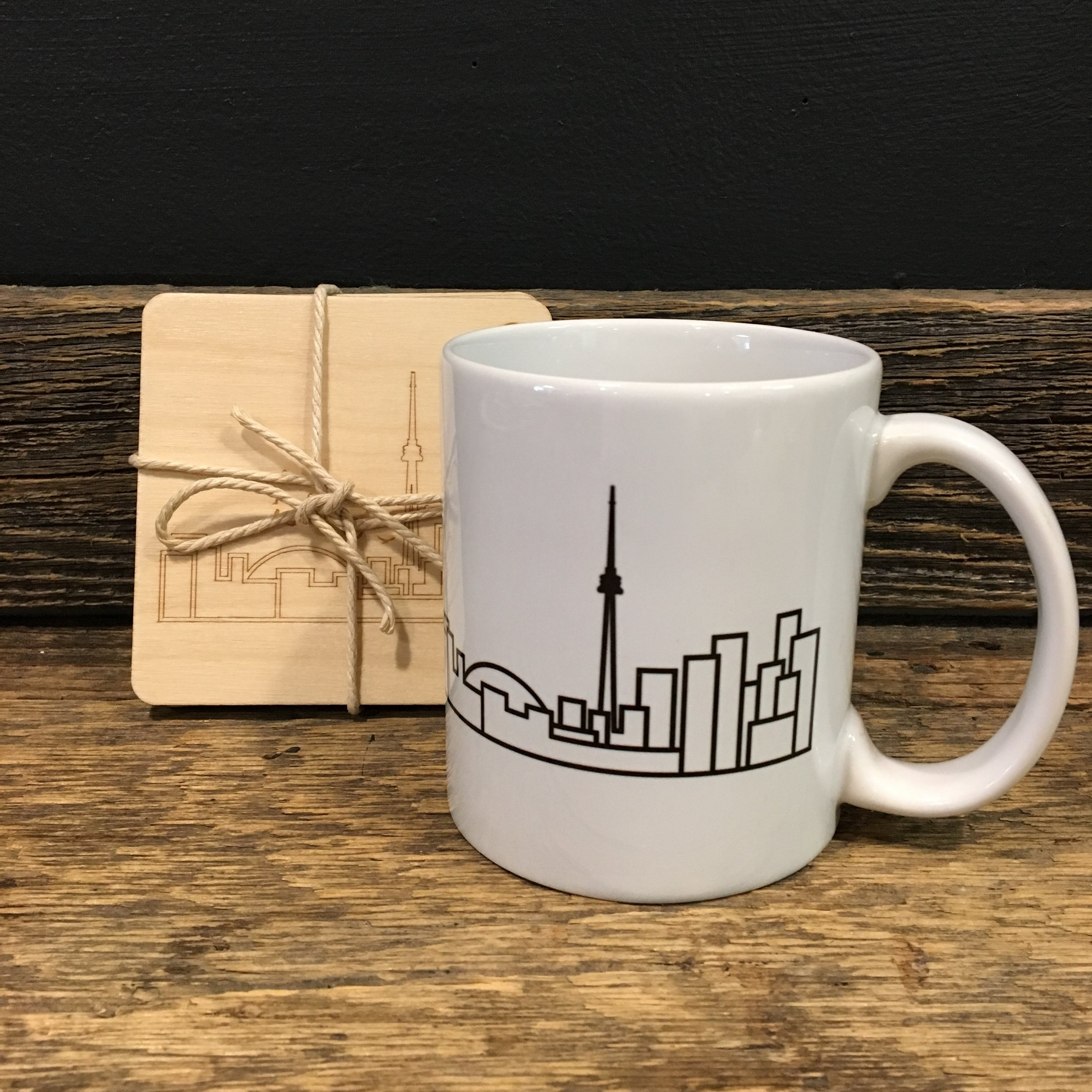 Toronto skyline coasters and Mug by  Ave Mariabell Designs