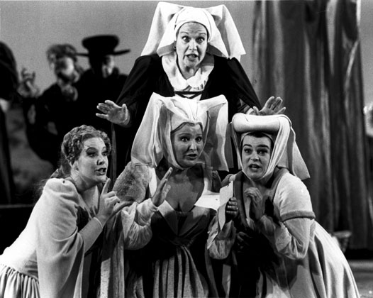 Ms. Cowdrick with Marilyn Horne as Dame Quickly, Pilar Lorengar as Alice, and Ruth Ann Swenson as Nannetta