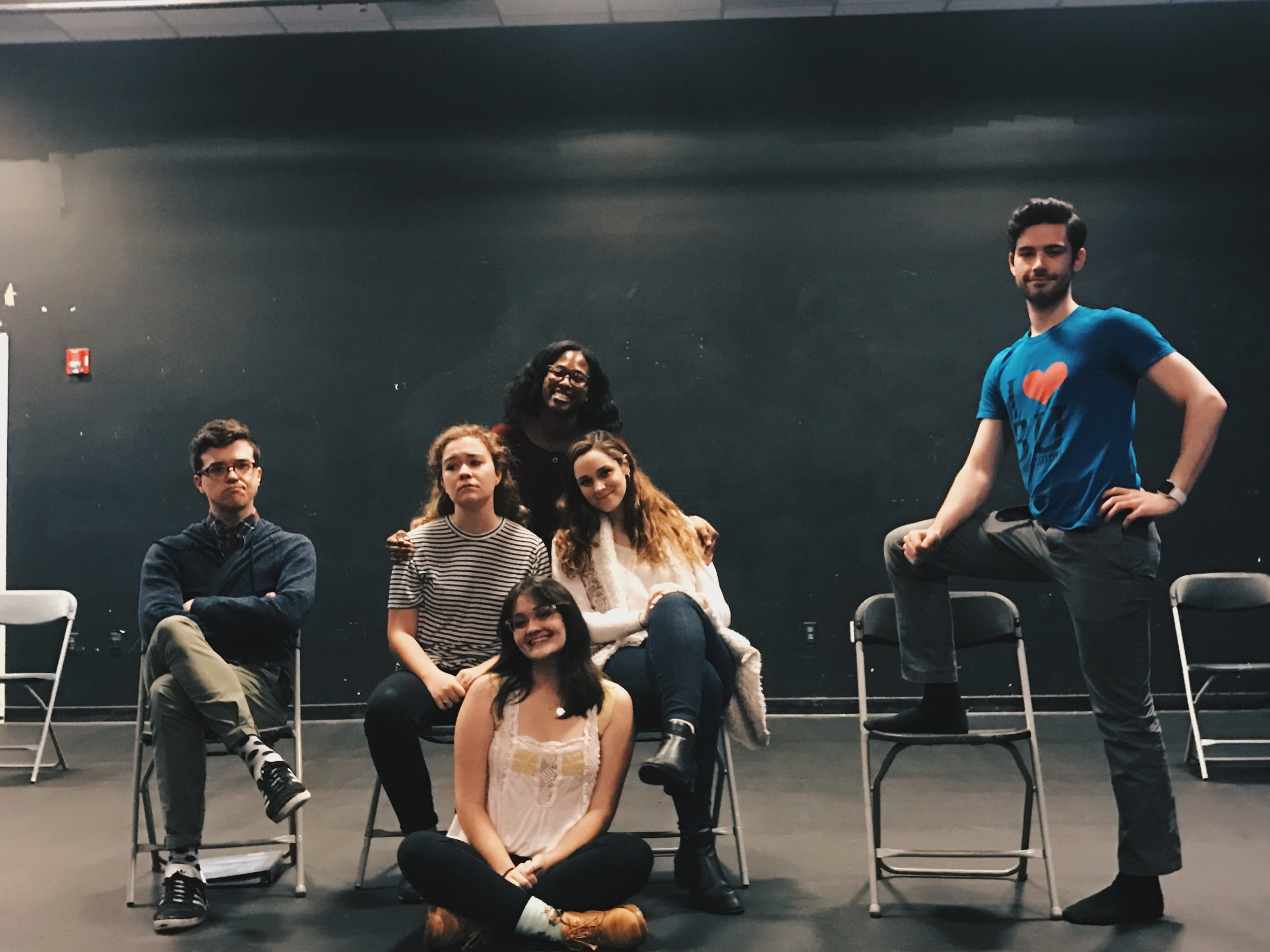 The cast of  Vanya and Sonia and Masha and Spike  (Summer Show 2017) with director, Brittany Kamson.
