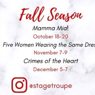 We are so excited to bring you our fall season!! Just a few short days until Troupies old and future will be coming back to BU!