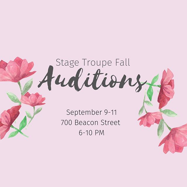 Auditions start tonight at 6PM in 700 Beacon!! We hope to see you there