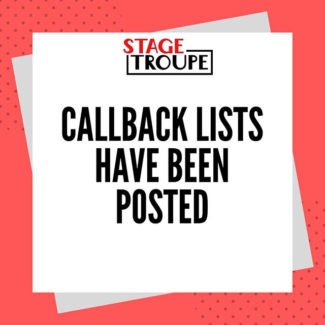 Fall 2019 Callback Lists have been posted. Link in our bio!