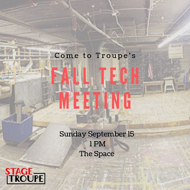 Want more ways to get involved in Troupe? Prefer being behind the scenes? Want to learn a new skill? Come to our Fall Tech Meeting tomorrow at 1PM in the Space (in the alley behind Raising Cane's/near the entrance to West Campus). We hope to see you there! 💡🛠👗💄🎤