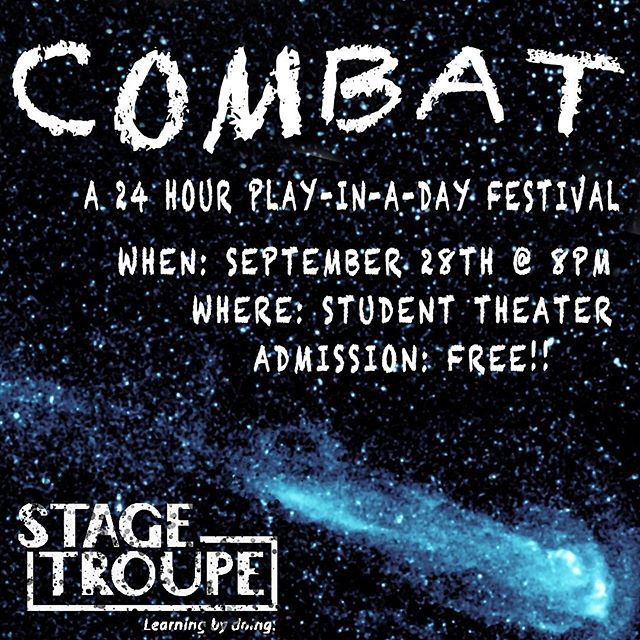 COMBAT 2019 is in FULL SWING!! All our participating groups are hard at work rehearsing their original plays and preparing their tech! Want to see the end products? Come on out to the Student Theater at 8PM tonight for performances by @bushakespeare @wmindsbu @buonbroadway @stagetroupe and @liquidfunbu !
