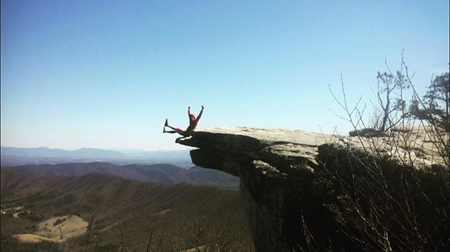 """Day: 35  Miles: 32.0 Total: 761.7  Made it to McAfee Knob! Tinker Cliffs was also incredible! The valley looked like the paradise In Land Before Time no joke. Today was just a gem. The views and the weather couldn't have been better and I actually felt like a hiker again for the first time in a week. A local told me a story that last year he'd seen """"Marry me Sarah"""" cut out of one of the larger pastures below, and I'm choosing to believe it's #sarahthemuse.  Such a massive turn around physically! Mentally I'm still recovering but feeling better. These long walks are all about that struggle though. I often relate it to a long run. There are peaks and valleys but pushing through walls is what it's all about. The human body is amazing and if you listen to it, it can take you some amazing places."""