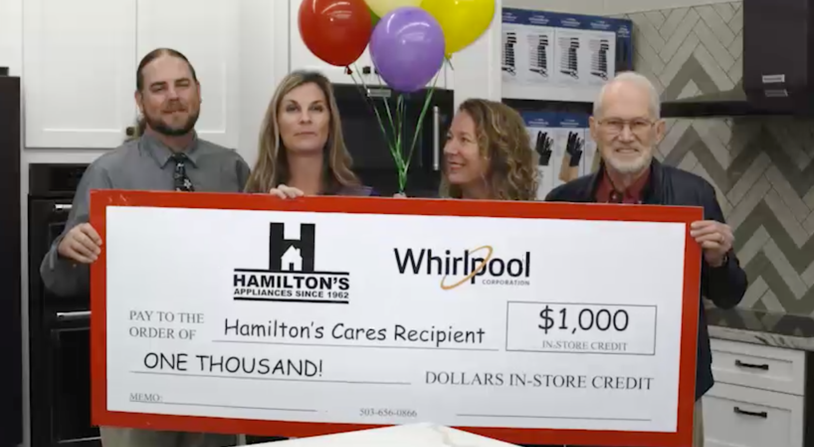 FPTV Receives Hamilton Cares Award A $1,000 grant towards home appliances! We purchased a washer and dryer and received a discount on our stove! Thank you Hamilton and KGW.