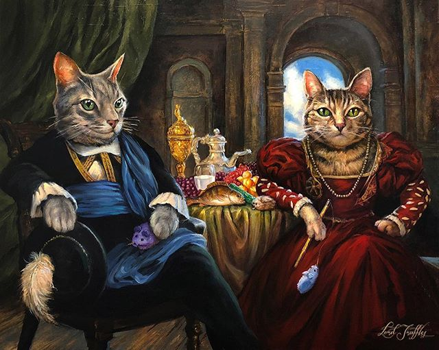 "Happy New Year to everyone! Last year was decorated with spectacular occasions for our clients that we were so lucky to be a part of! Including a wedding!! This portrait of ""Sir William and Lady Annabelle"" was presented after their wedding ceremony (to stand in for the real W&A! 🐾) . . #congratulations ! #wedding #pet #petportrait #cat #catsofinstagram #cats #catart #cattoys #furfamily #painting #lordtruffles #art"