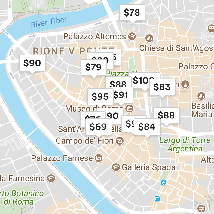 Rome Airbnb Map