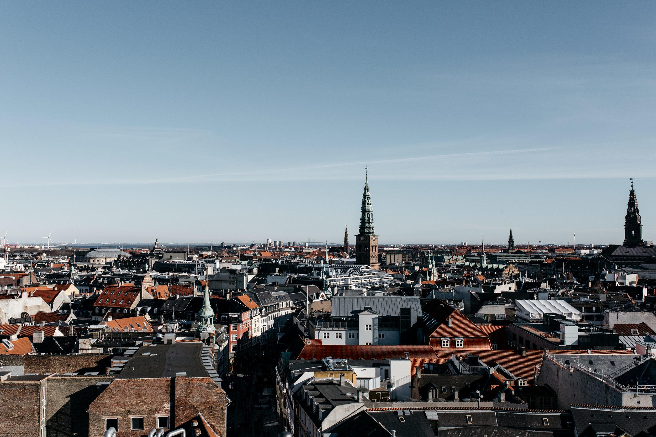 View during high noon from Copenhagen's Rundetårn.