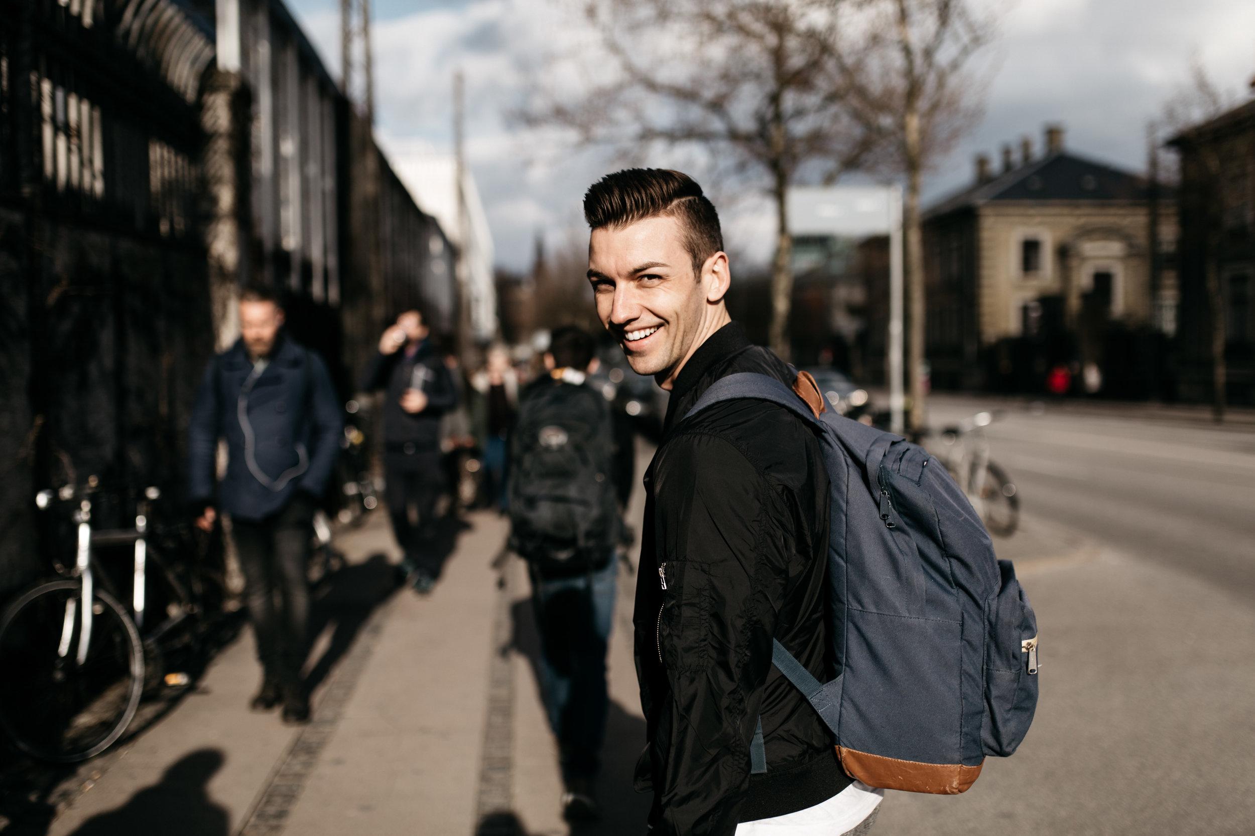 Michael walking in Copenhagen