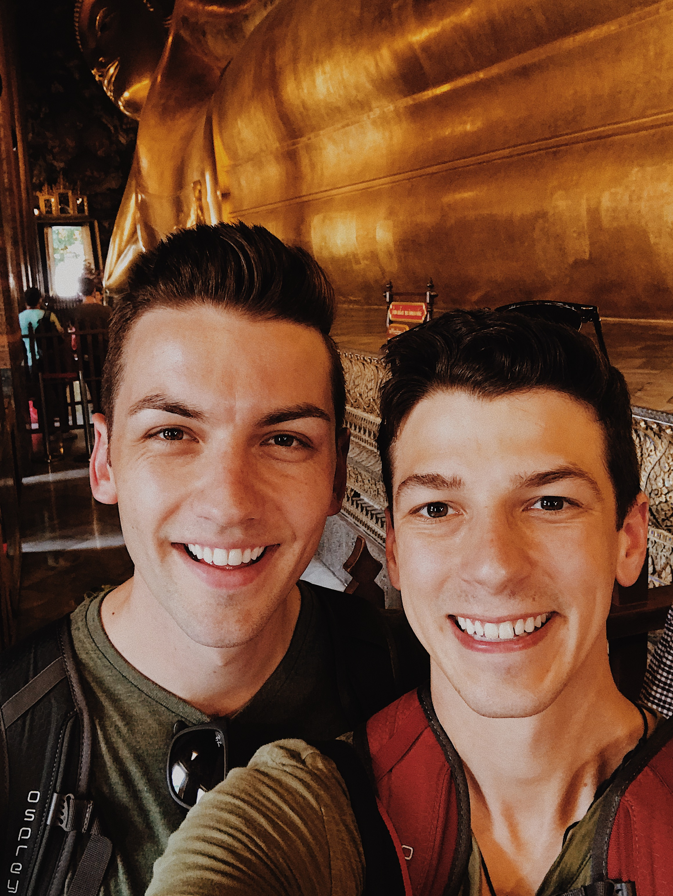 Matthew and Michael at Temple of the Reclining Buddha.JPG