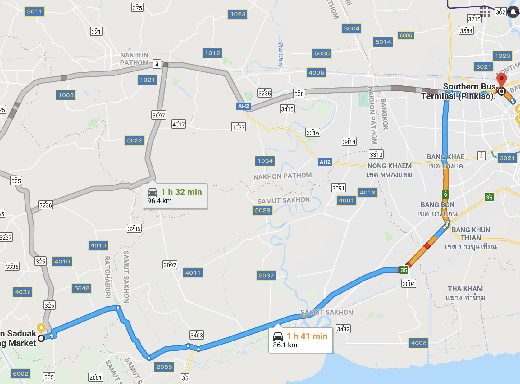 Route from Bangkok to Damnoen Saduak Floating Market