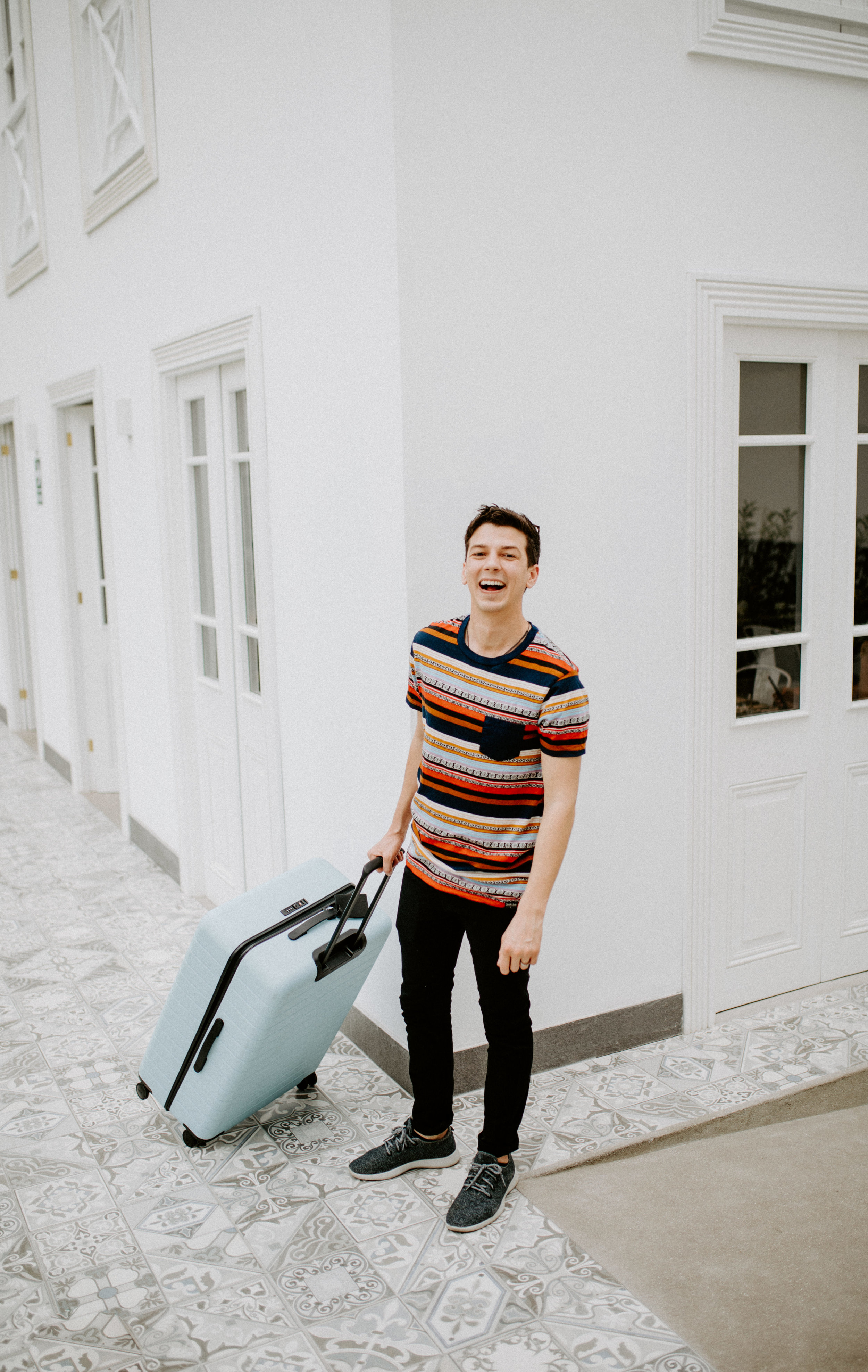 A happy  @MatthewSchueller  checks into his room at Casa República, featuring a favorite sky-blue  @Away  bag. Thanks for the snap  @AndyLalwani !