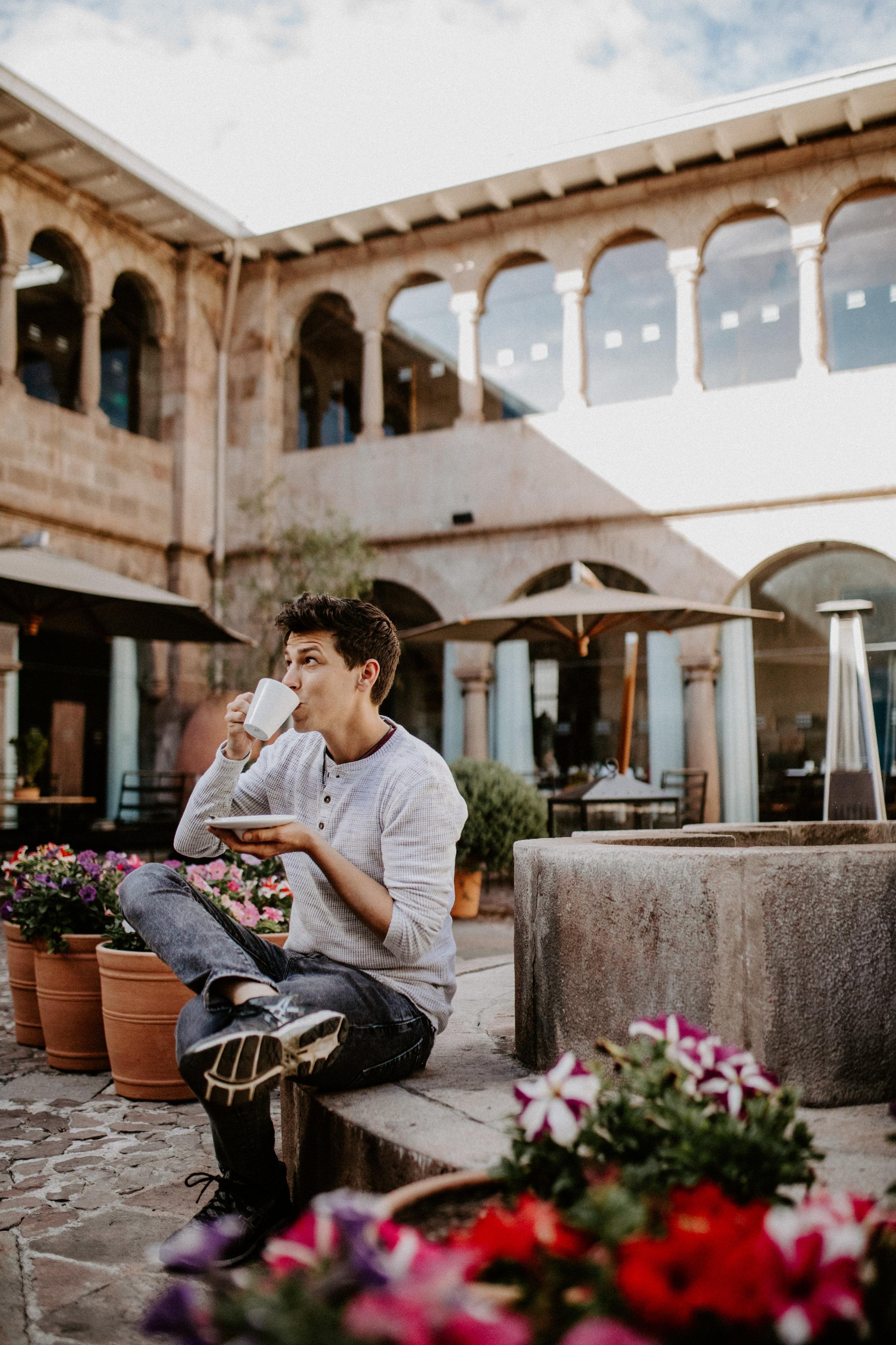 Sipping coca-tea in Palacio Libertador's sunny courtyard, a favorite morning activity!
