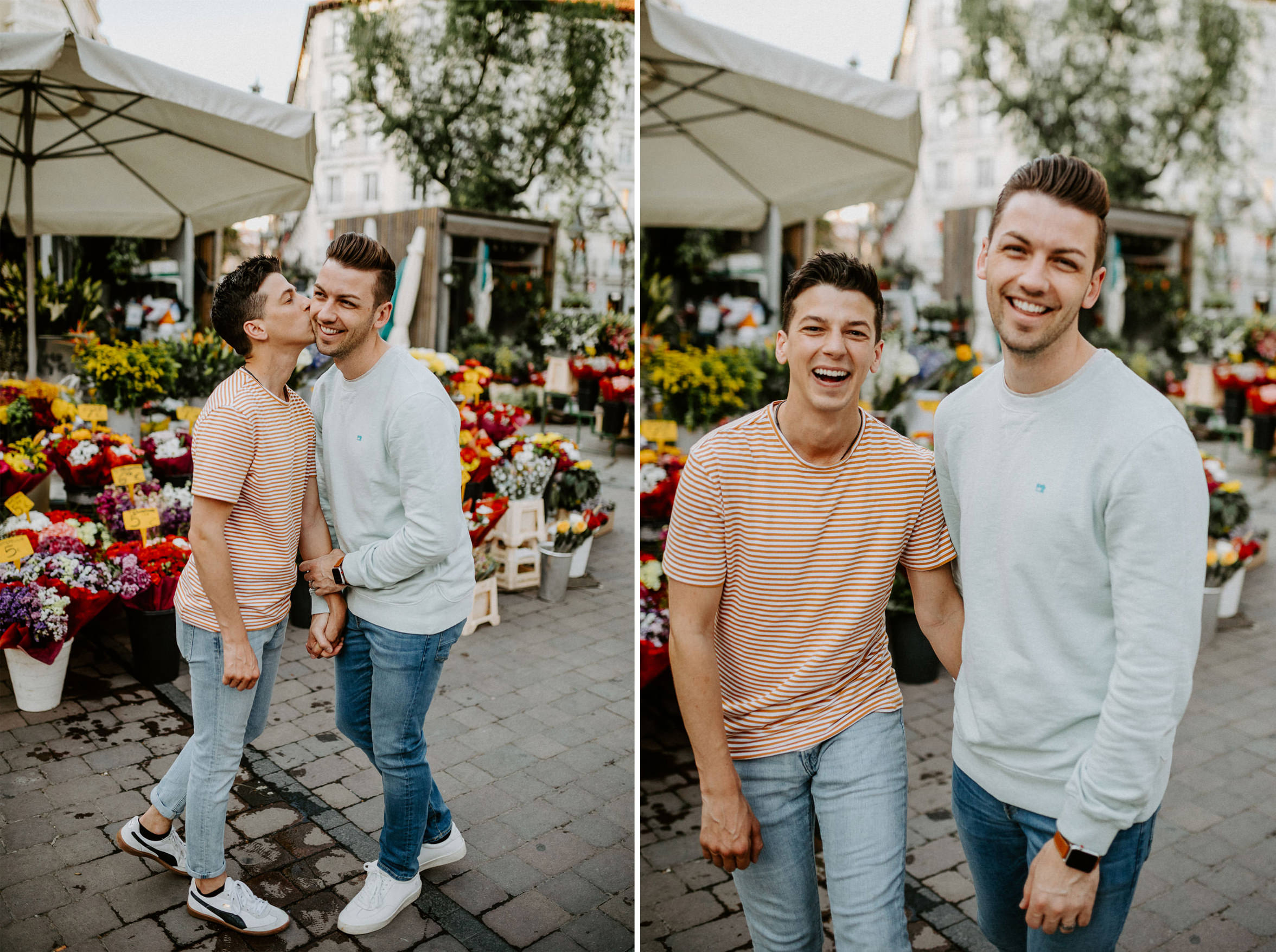 gay Madrid couple kissing old town flowers