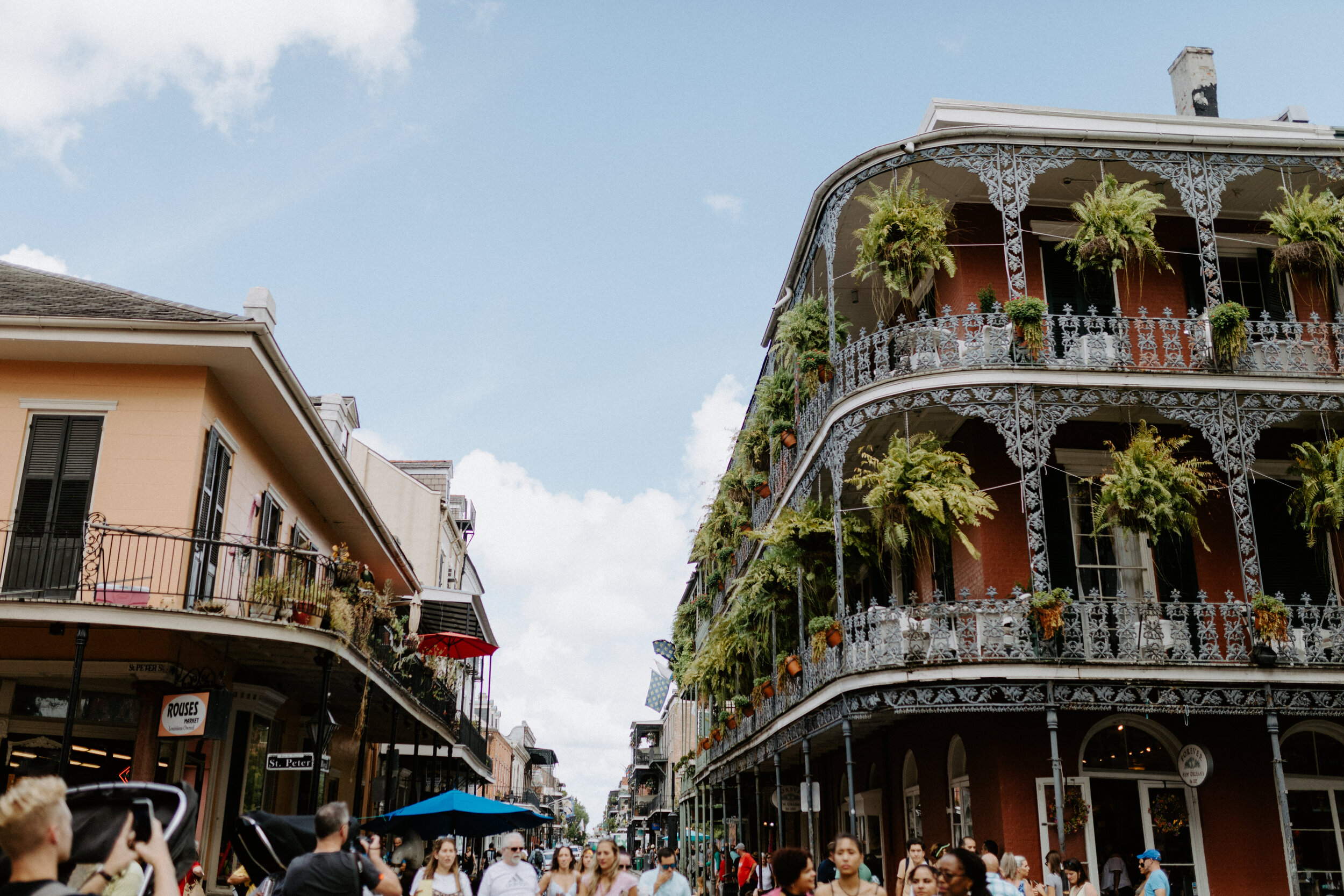 Casual view of an intersection of the French Quarter. Taking in the sights, admiring the greenery hanging from each balcony.