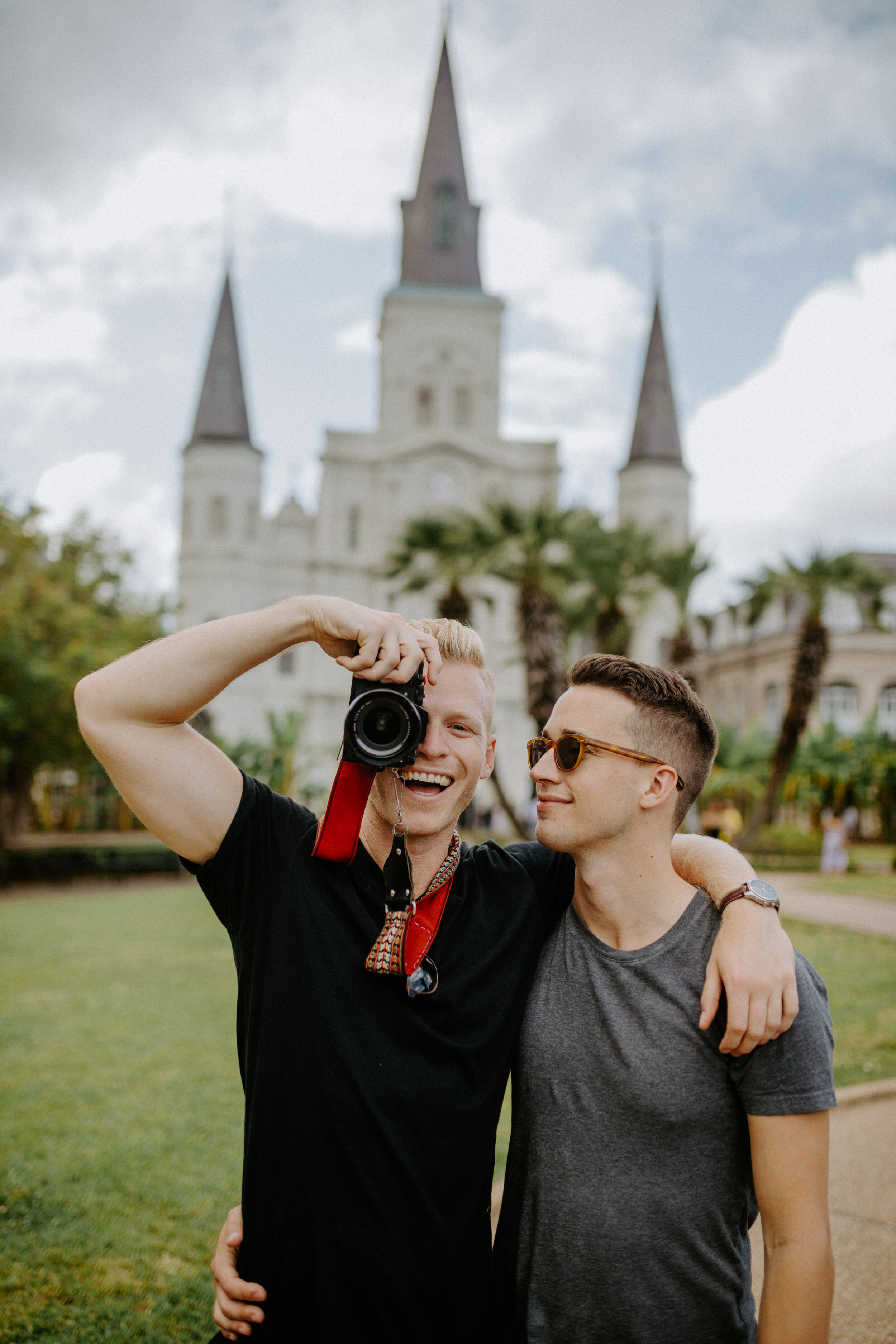 Justin  and  Harper  hanging out in Jackson Square