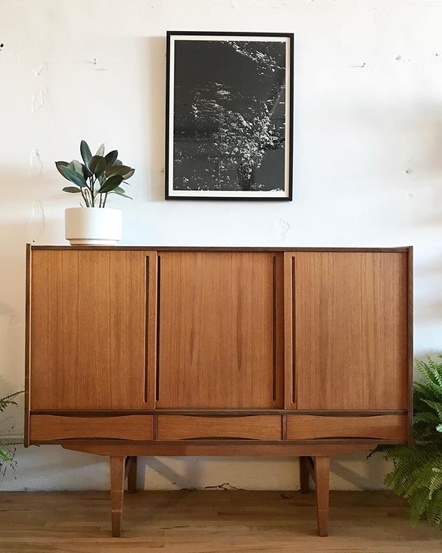 "Danish highboard in teak. Simplicity in its highest form. Such an ideal size. 61""L 46""T 16""D $1840.00 and 15% off thru tomorrow. DM for shipping quote."