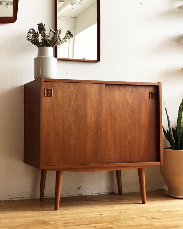 "Petite credenza in teak is now available. Ideal size for media, a dry bar, or an entry catch all. 34.25""W 17""D 32""T $740.00 DM for shipping quote."