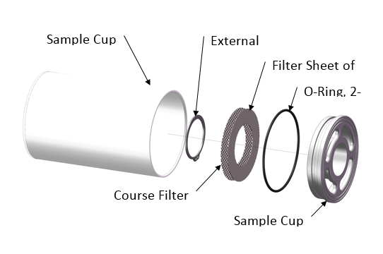 Sampling CuP - The ROV Suction Sampler pulls water, and biological samples into two liter sample cups. The samples are trapped in the cups with a user selected filter size. Once sampling is finished, the cup is rotated out of the water flow and sealed for subsequent analysis.