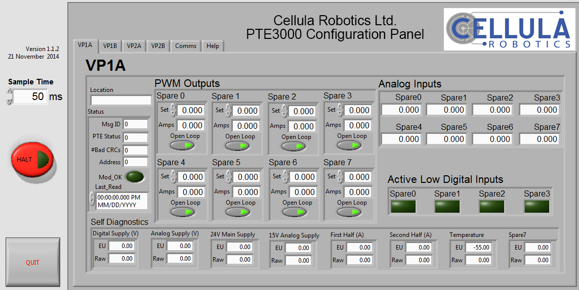 Test Software - The PTE3000 includes software to control each PWM output and monitor all digital and analog inputs. The test software can control two different PTE Boards at the same time. A comprehensive API is available for integration into a client's system.