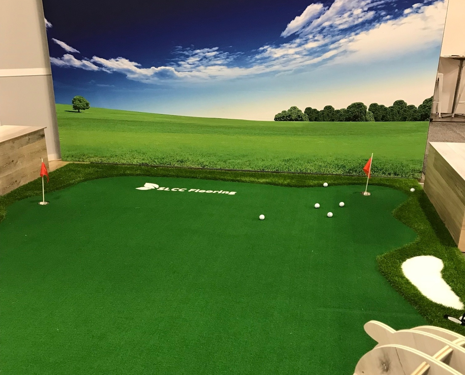 Artificial turf is a growing category and who wouldn't love playing around on this for a little while. We saw pigs playing in the mud on carpet, dogs trying to scratch the newest resilient flooring and real waterfalls showing off the true waterproof flooring. -