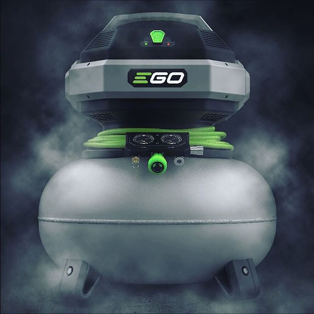 Ego Power Compressor - An addition to the cordless battery powered tool platform. The design  creates freedom from the power outlet and a convenient way to store the air hose while moving around the job site. -  #egopower #egopowerplus #egopowertools #egocompressor #design #productdesign #keyshot #keyshot3d #keyshotrender #solidworks #3dmodeling #cad #industrialdesign #tools #compressor #battery #3dmodel