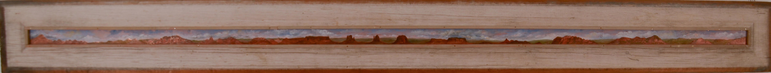"Westward Ho 1995  Oil on copper, wood  6"" x 56"""