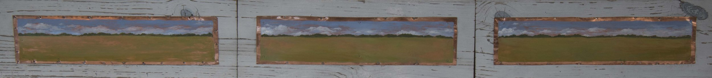 "West of Columbus 1997  Oil on copper  5 1/2"" x 75"""