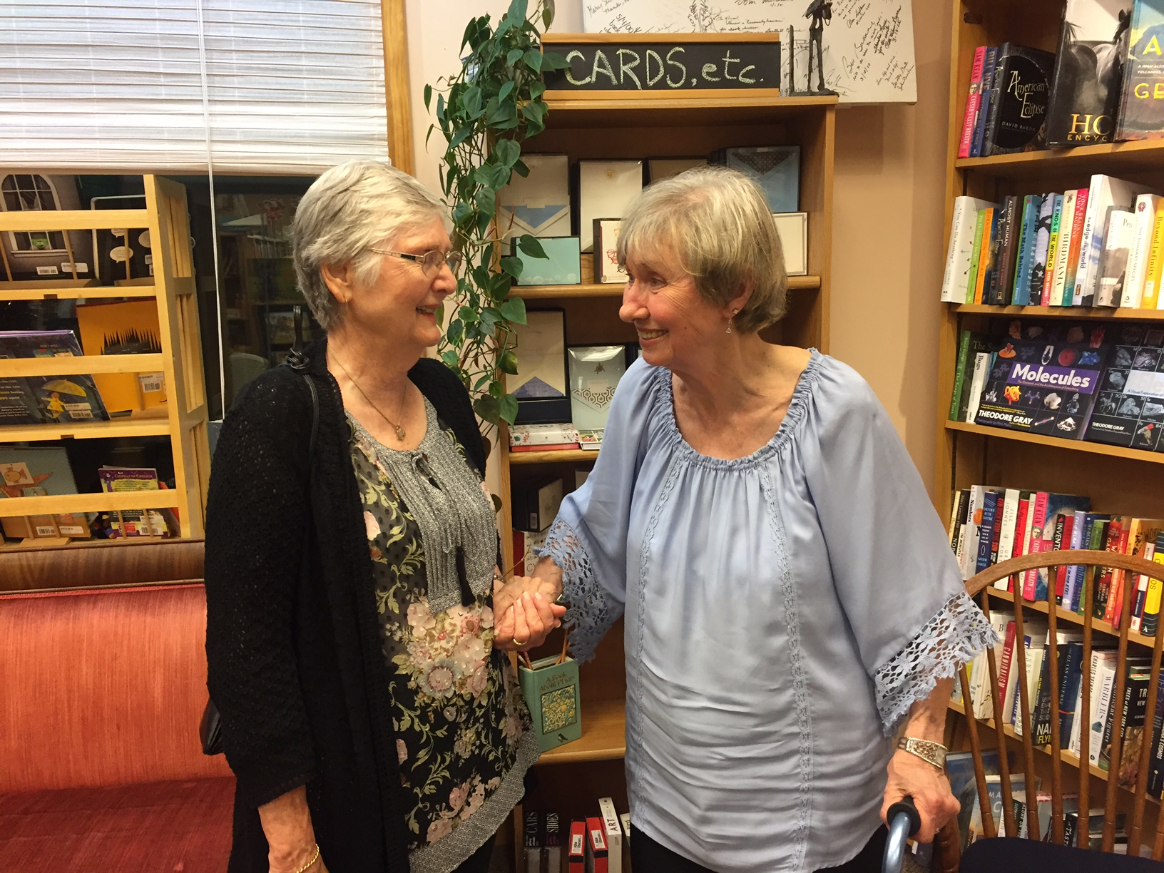 Carlene Gaillard, dear friend from Port St. Joe days ,  and Ruth Chambers remembering good times. Carlene introduced Ruth to Nancy Drew mysteries.