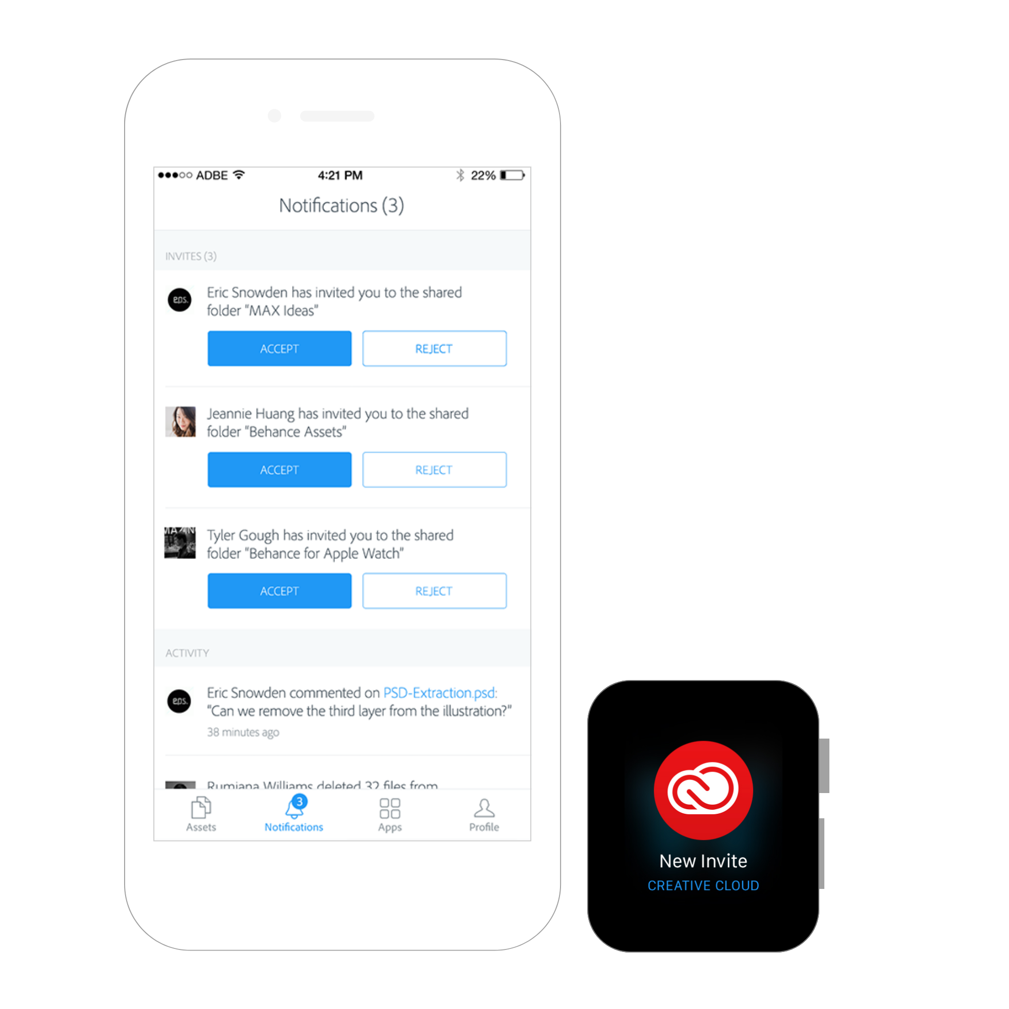 - The watch app is an extension of the CC iOS app which gives users access to their creative files, let's them give and receive comments, get invites to folders and also have access to account information.Prior to the Apple Watch launch the Creative Cloud team examined which features of the app are best suited for the Apple watch. Since major features are collaboration and notifications, we started developing the app based on the extensive documentation provided by Apple.After the launch of the watch and while spending more time with it, we realized that some of the features that we had developed are probably not as useful as we initially thought. In the next iteration of the Watch app we removed anything that was not timely.