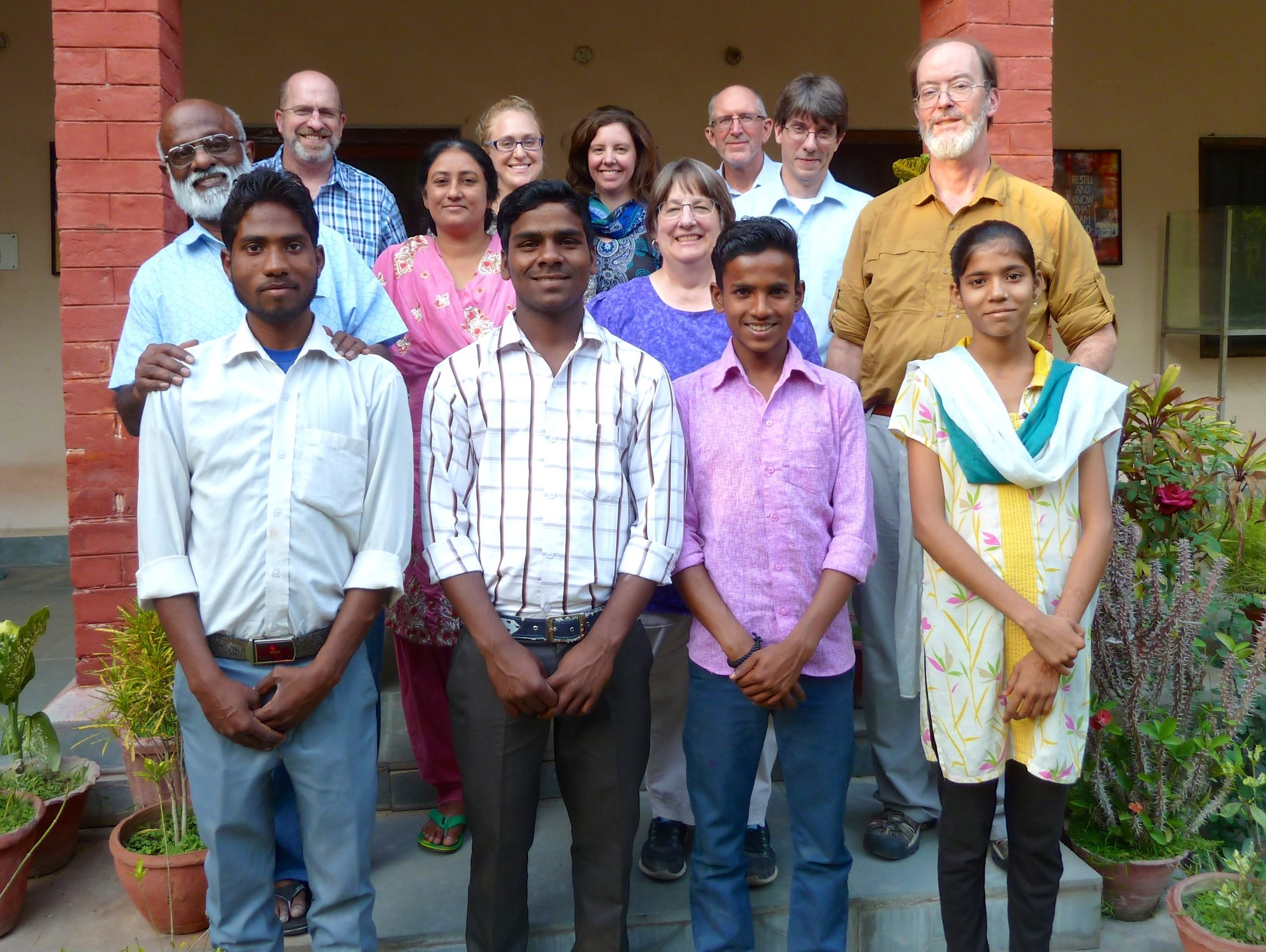Dr, Audrey Barker (back, center) with USA staff of HIT and India staff and students of Kachhwa Christian Hospital.  Kachhwa, India, March 2017