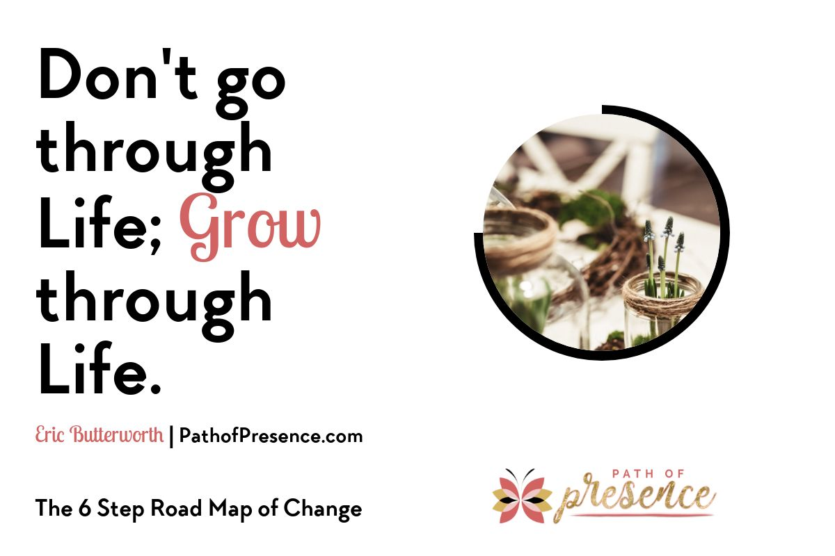 Inspirational Quote: Don't go through Life, GROW through Life - Eric Butterworth :: Path of Presence :: Change and resilience :: Navigating the 6 step road map of change by Evelyn Foreman