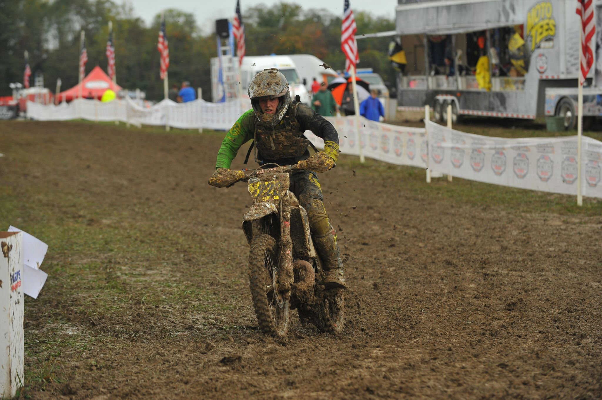 Chase Sweda battles the tough conditions at the Powerline Park GNCC - Photo By Ken Hill