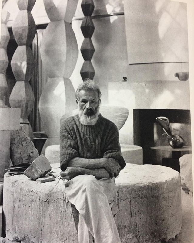 Yesterday was research day at the RCA library, bringing back many memories. Great books to look at and be inspired by, including one on Brancusi with this portrait in the studio.  #rca