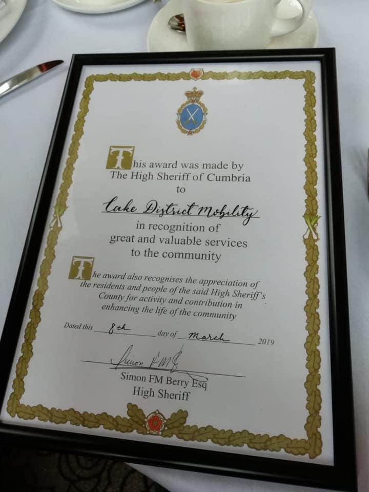 Lake District Mobility High Sheriff Award