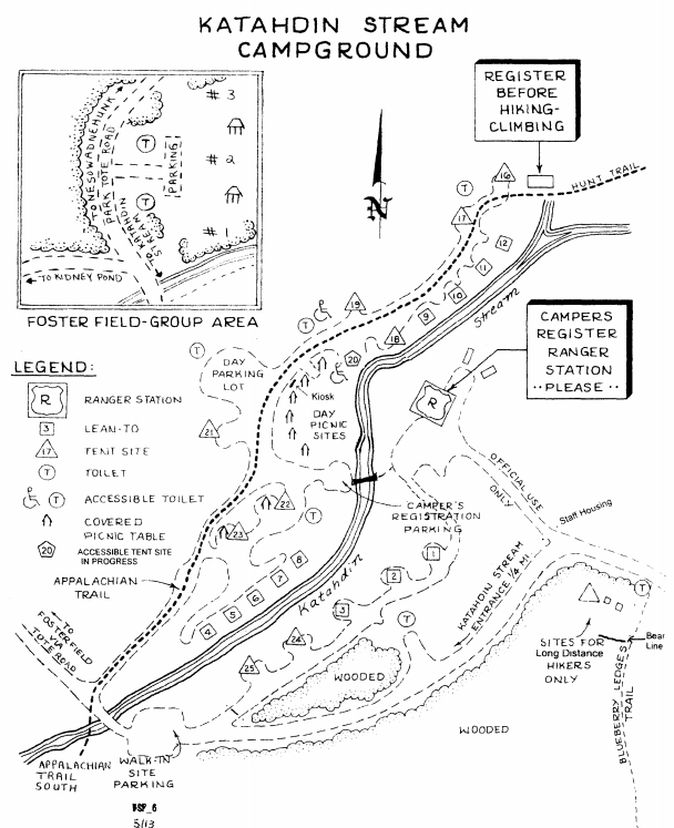 A map of Katahdin Stream Campground. I stayed in lean-to #6 right next to Katahdin Stream.