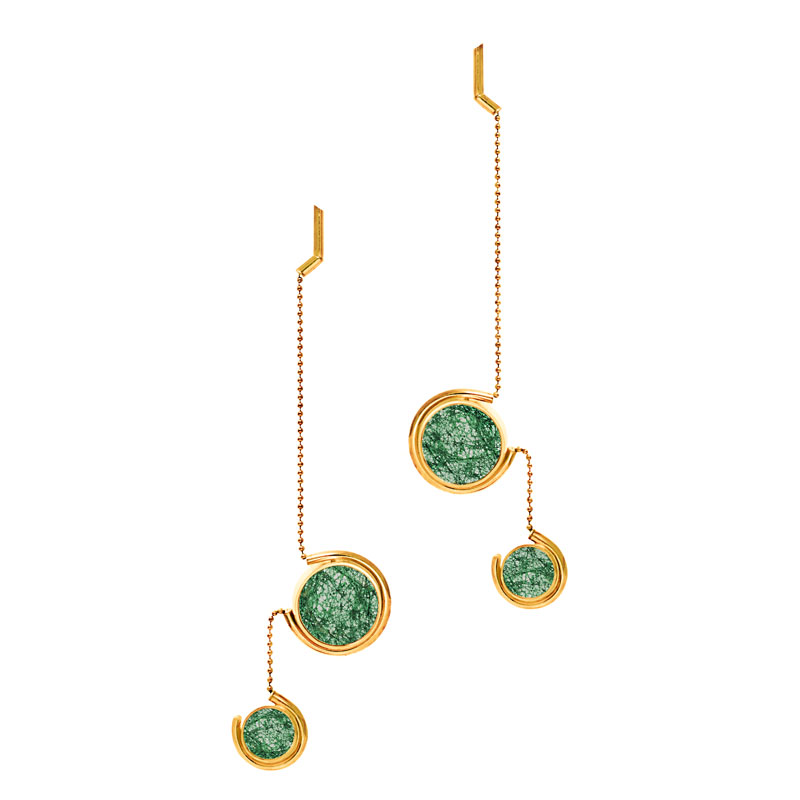 Patricia-Wong-The-Rose-Tint-tinted-earrings-III-gold-emerald-lace