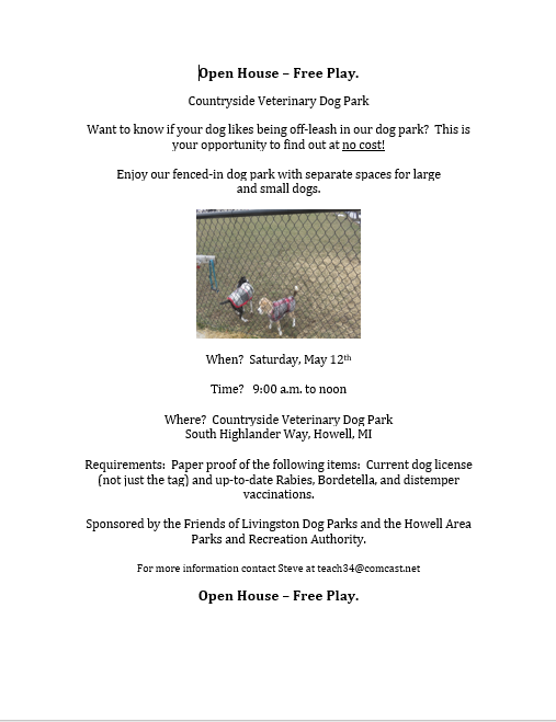 countryside vet dog park open house flyer.PNG