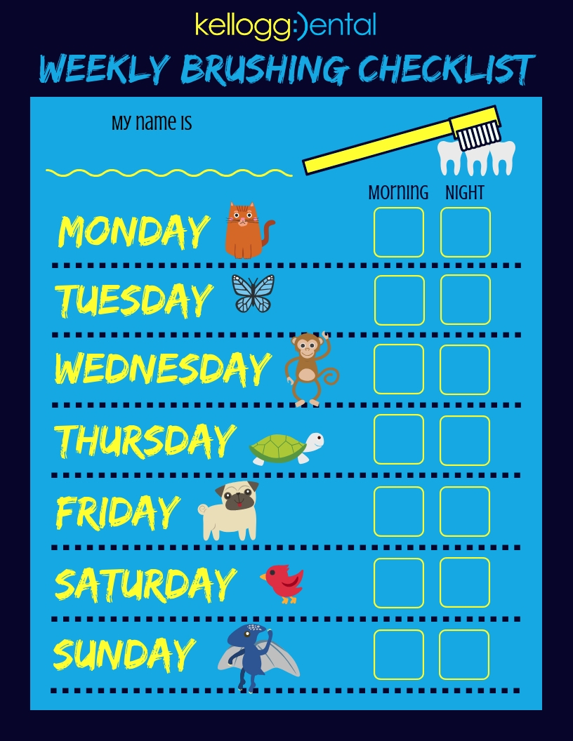Kellogg Dental Kids Brushing Checklist