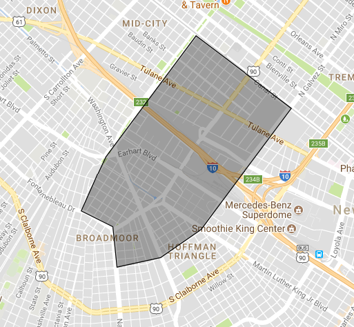 Our geographic delineation; we focus on the entirety of S Broad Ave, spanning from the intersection with Napoleon Ave/Fontainebleau Dr to the intersection with Canal St.