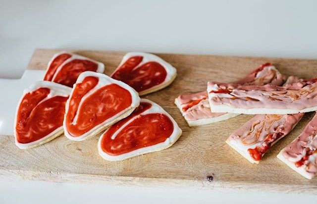 Custom Designer Sugar Cookies - T-Bone Steaks + Bacon (for the vegetarian in your life)