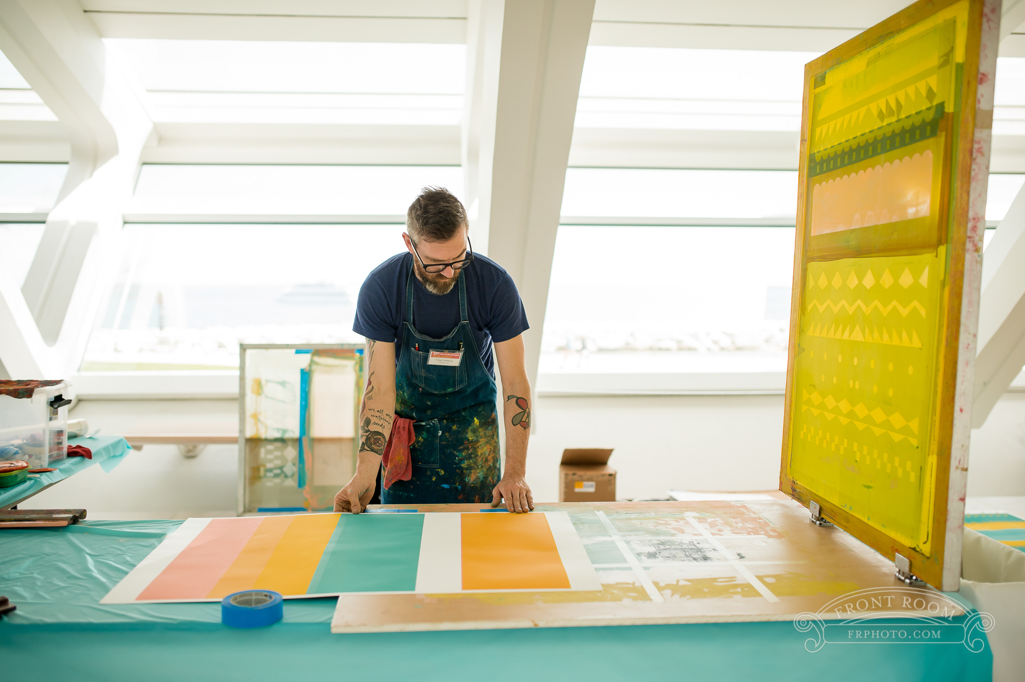 Live studio share, working on tapestry prints at Milwaukee Art Museum.