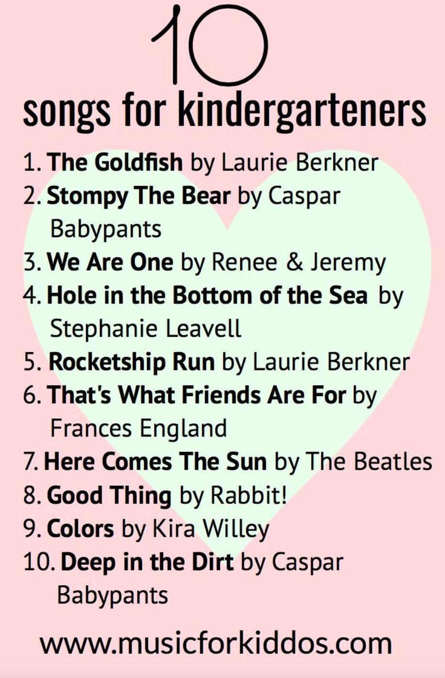 10 songs for kindergarteners