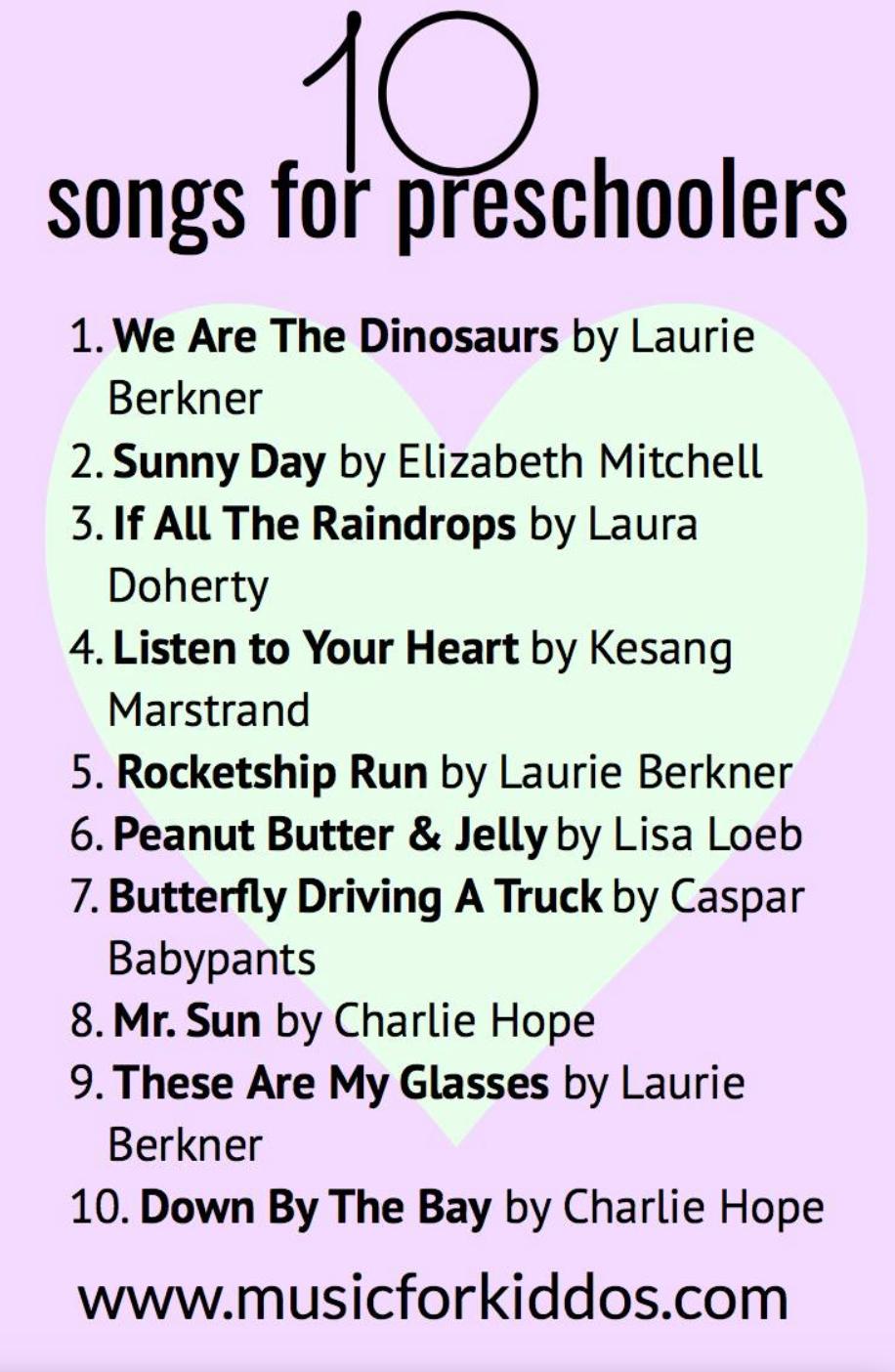 10 songs for preschoolers