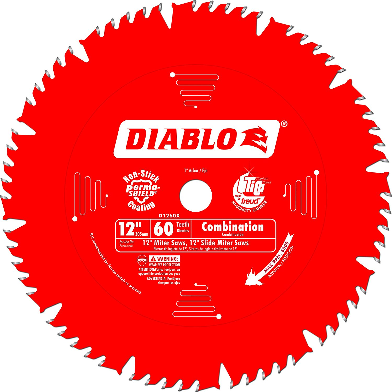 Diablo D1260X 12-Inch by 60t 1in Arbor - Have this on my Miter Saw! Nice!